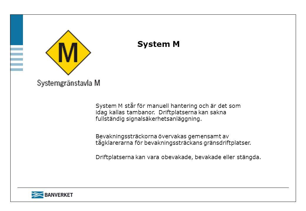 System M System M står för manuell hantering och är det som idag kallas tambanor. Driftplatserna kan sakna fullständig signalsäkerhetsanläggning. Beva