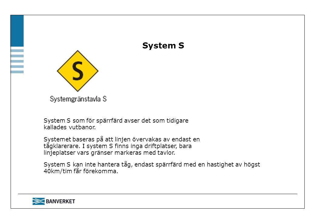 System S System S som för spärrfärd avser det som tidigare kallades vutbanor.