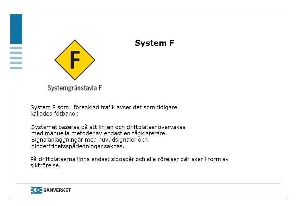 System F System F som i förenklad trafik avser det som tidigare kallades fötbanor. På driftplatserna finns endast sidospår och alla rörelser där sker