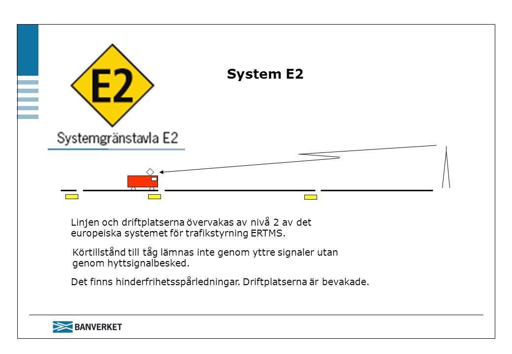 System E2 Det finns hinderfrihetsspårledningar. Driftplatserna är bevakade. Linjen och driftplatserna övervakas av nivå 2 av det europeiska systemet f