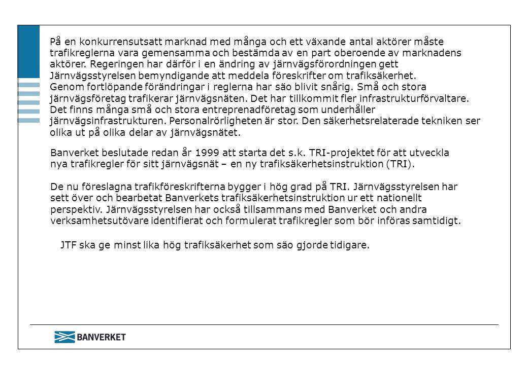 Bilageindelning Järnvägsstyrelsens trafikföreskrift innehåller bilagor som är uppdelade i 4 grupper.