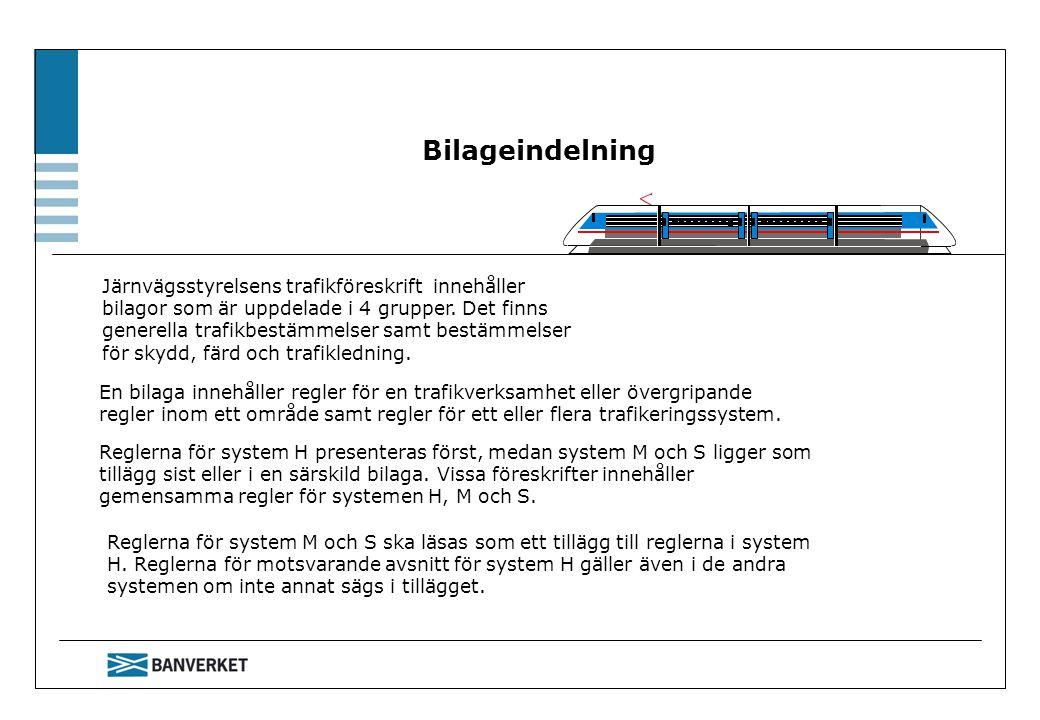 Bilageindelning Järnvägsstyrelsens trafikföreskrift innehåller bilagor som är uppdelade i 4 grupper. Det finns generella trafikbestämmelser samt bestä
