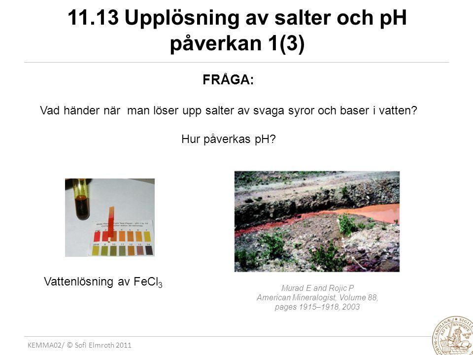 KEMMA02/ © Sofi Elmroth 2011 11.13 Upplösning av salter och pH påverkan 1(3) FRÅGA: Vad händer när man löser upp salter av svaga syror och baser i vat