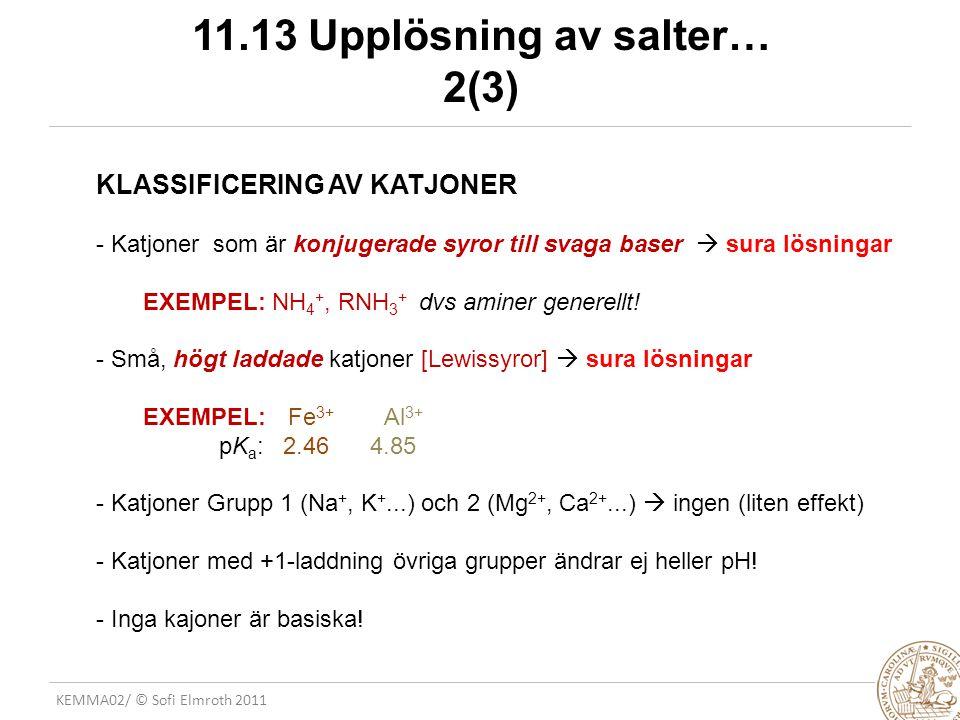 KEMMA02/ © Sofi Elmroth 2011 11.13 Upplösning av salter… 2(3) KLASSIFICERING AV KATJONER - Katjoner som är konjugerade syror till svaga baser  sura l