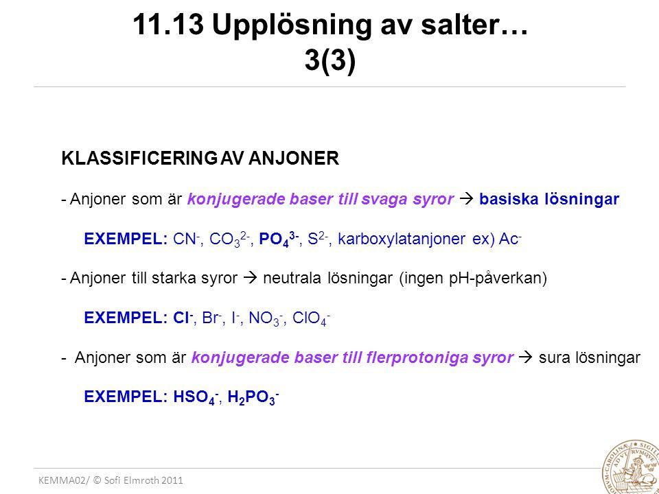 KEMMA02/ © Sofi Elmroth 2011 11.13 Upplösning av salter… 3(3) KLASSIFICERING AV ANJONER - Anjoner som är konjugerade baser till svaga syror  basiska