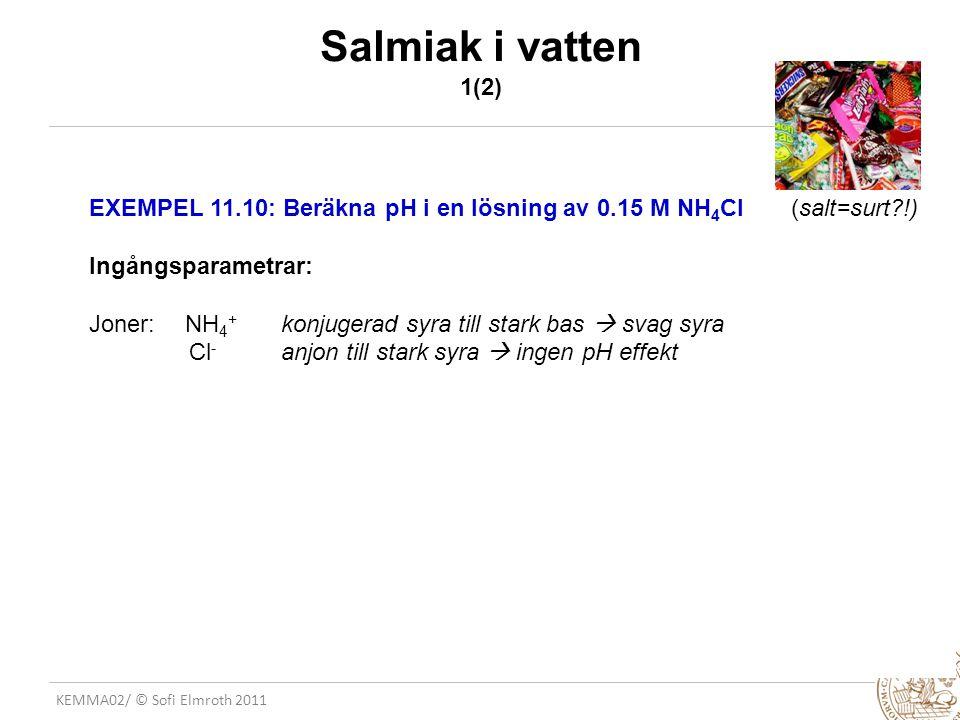 KEMMA02/ © Sofi Elmroth 2011 Salmiak i vatten 1(2) EXEMPEL 11.10: Beräkna pH i en lösning av 0.15 M NH 4 Cl (salt=surt?!) Ingångsparametrar: Joner: NH