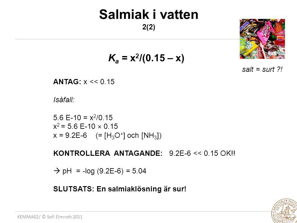 KEMMA02/ © Sofi Elmroth 2011 Salmiak i vatten 2(2) ANTAG: x << 0.15 Isåfall: 5.6 E-10 = x 2 /0.15 x 2 = 5.6 E-10  0.15 x = 9.2E-6 (= [H 3 O + ] och [