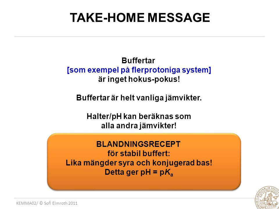 KEMMA02/ © Sofi Elmroth 2011 TAKE-HOME MESSAGE Buffertar [som exempel på flerprotoniga system] är inget hokus-pokus! Buffertar är helt vanliga jämvikt