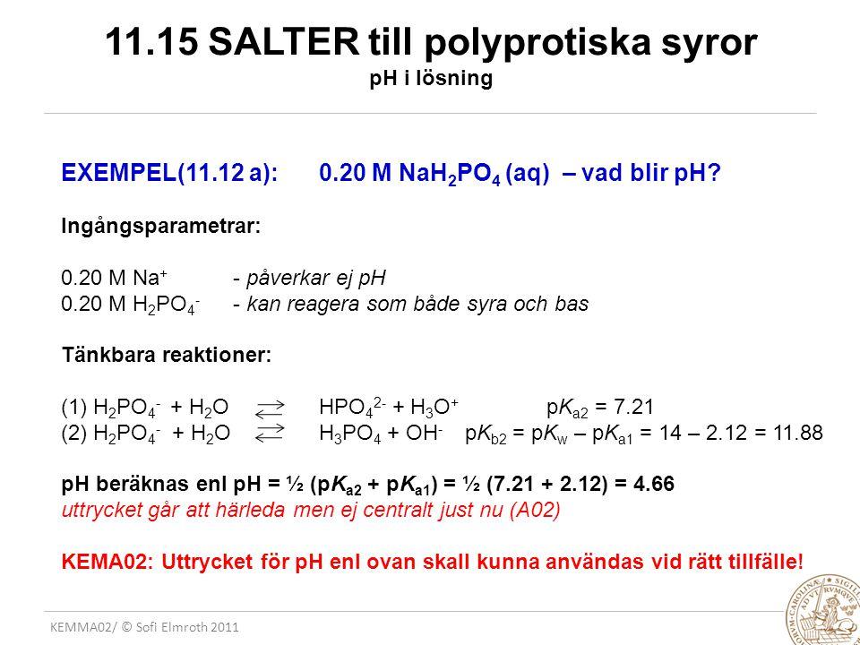 KEMMA02/ © Sofi Elmroth 2011 11.15 SALTER till polyprotiska syror pH i lösning EXEMPEL(11.12 a): 0.20 M NaH 2 PO 4 (aq) – vad blir pH? Ingångsparametr