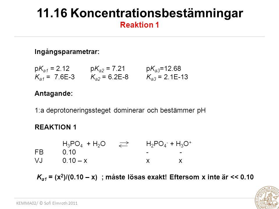 KEMMA02/ © Sofi Elmroth 2011 11.16 Koncentrationsbestämningar Reaktion 1 Ingångsparametrar: pK a1 = 2.12 pK a2 = 7.21pK a3 =12.68 K a1 = 7.6E-3 K a2 =
