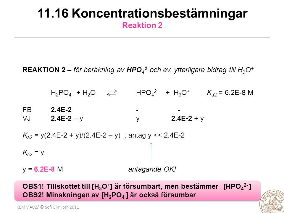 KEMMA02/ © Sofi Elmroth 2011 11.16 Koncentrationsbestämningar Reaktion 2 REAKTION 2 – för beräkning av HPO 4 2- och ev. ytterligare bidrag till H 3 O