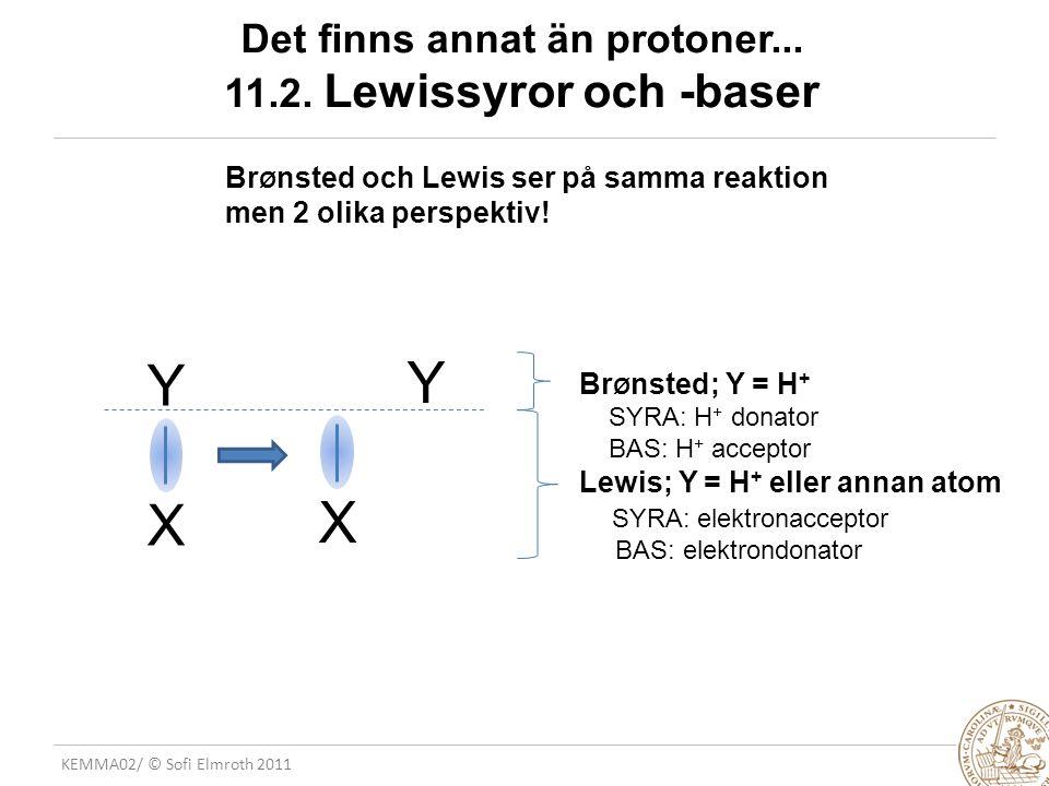 KEMMA02/ © Sofi Elmroth 2011 Det finns annat än protoner... 11.2. Lewissyror och -baser Br Ø nsted och Lewis ser på samma reaktion men 2 olika perspek
