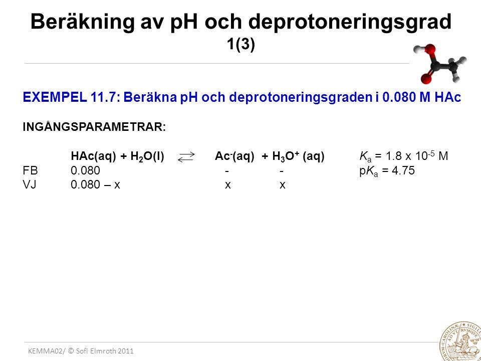 KEMMA02/ © Sofi Elmroth 2011 Beräkning av pH och deprotoneringsgrad 1(3) EXEMPEL 11.7: Beräkna pH och deprotoneringsgraden i 0.080 M HAc INGÅNGSPARAME
