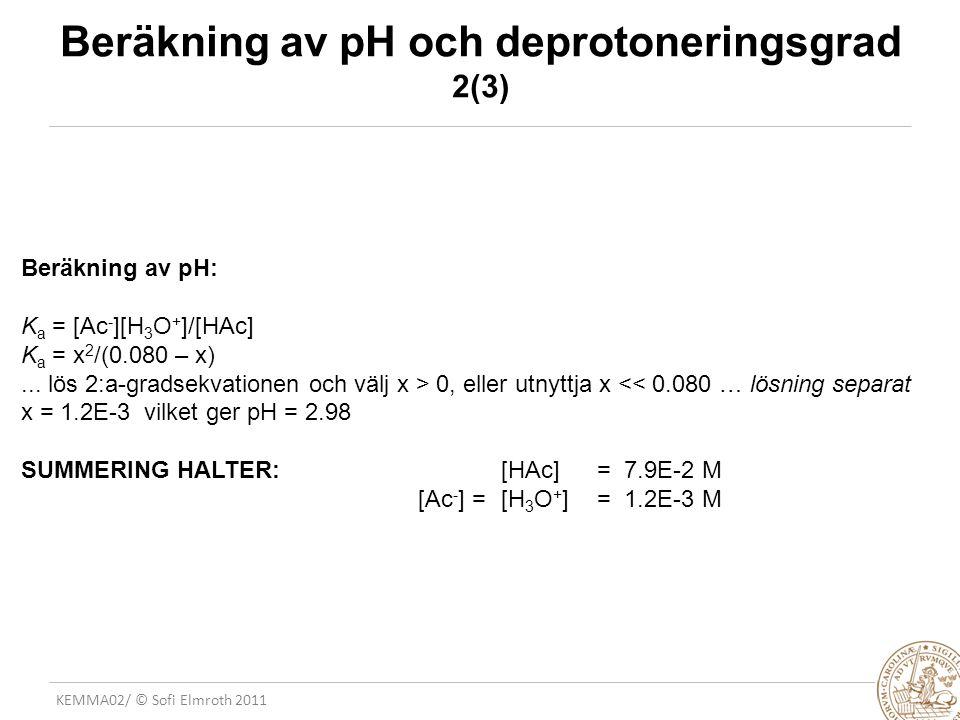 KEMMA02/ © Sofi Elmroth 2011 Beräkning av pH och deprotoneringsgrad 2(3) Beräkning av pH: K a = [Ac - ][H 3 O + ]/[HAc] K a = x 2 /(0.080 – x)... lös