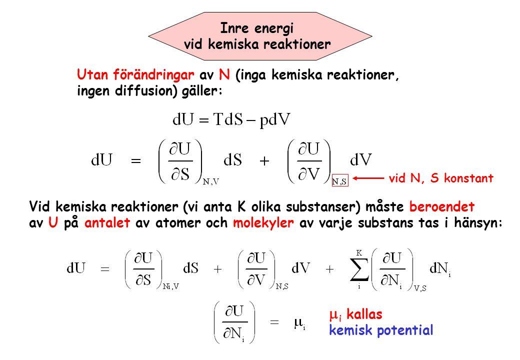 Inre energi vid kemiska reaktioner Utan förändringar av N (inga kemiska reaktioner, ingen diffusion) gäller: vid N, S konstant Vid kemiska reaktioner