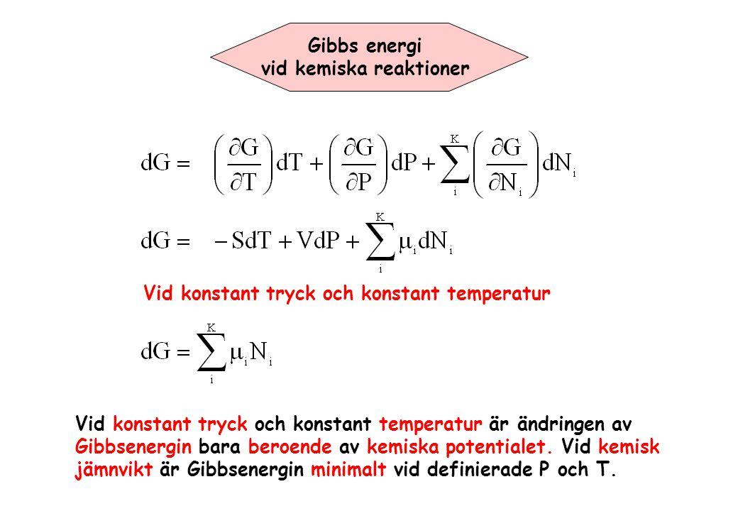 Gibbs energi vid kemiska reaktioner Vid konstant tryck och konstant temperatur Vid konstant tryck och konstant temperatur är ändringen av Gibbsenergin