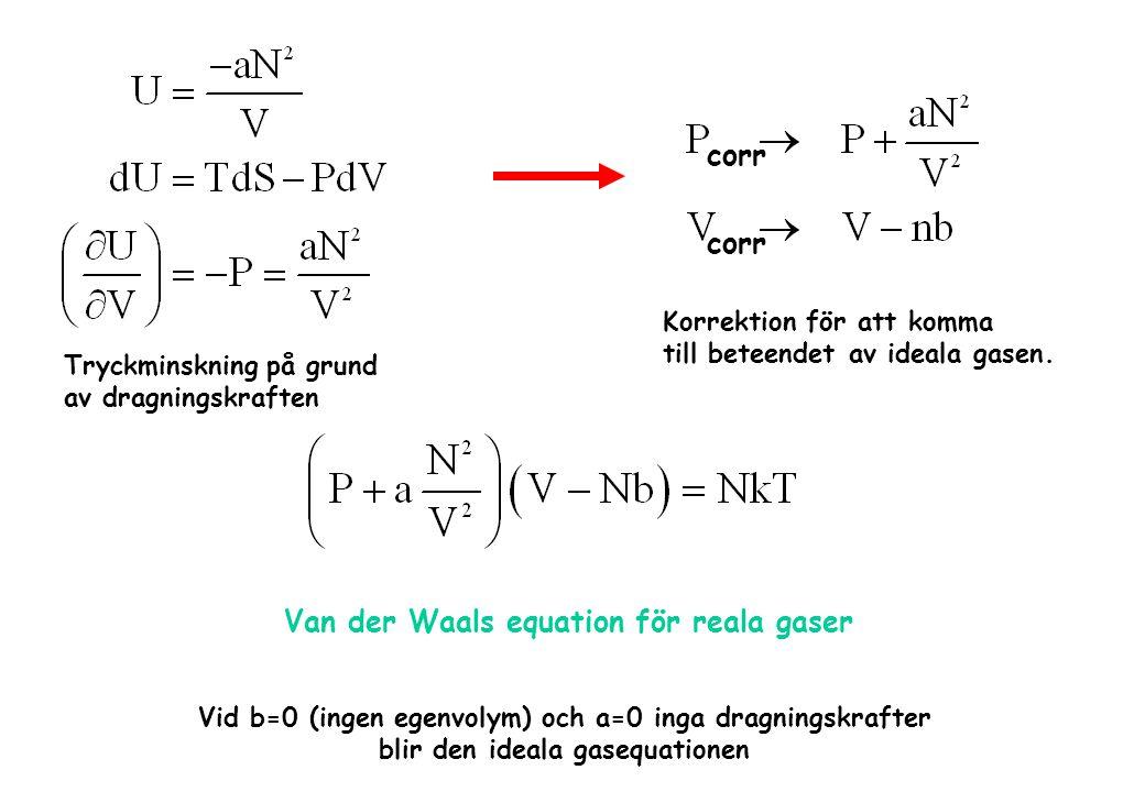 Tryckminskning på grund av dragningskraften Van der Waals equation för reala gaser Vid b=0 (ingen egenvolym) och a=0 inga dragningskrafter blir den id