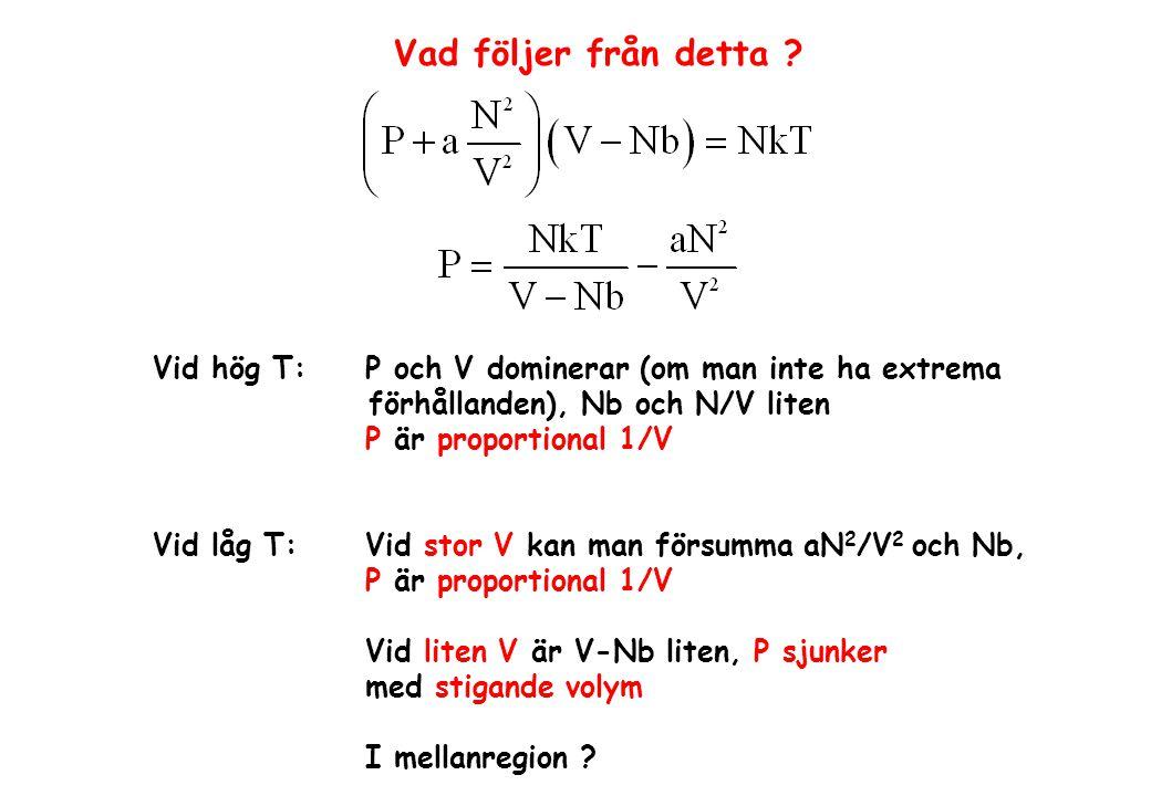Vad följer från detta ? Vid hög T: P och V dominerar (om man inte ha extrema förhållanden), Nb och N/V liten P är proportional 1/V Vid låg T:Vid stor