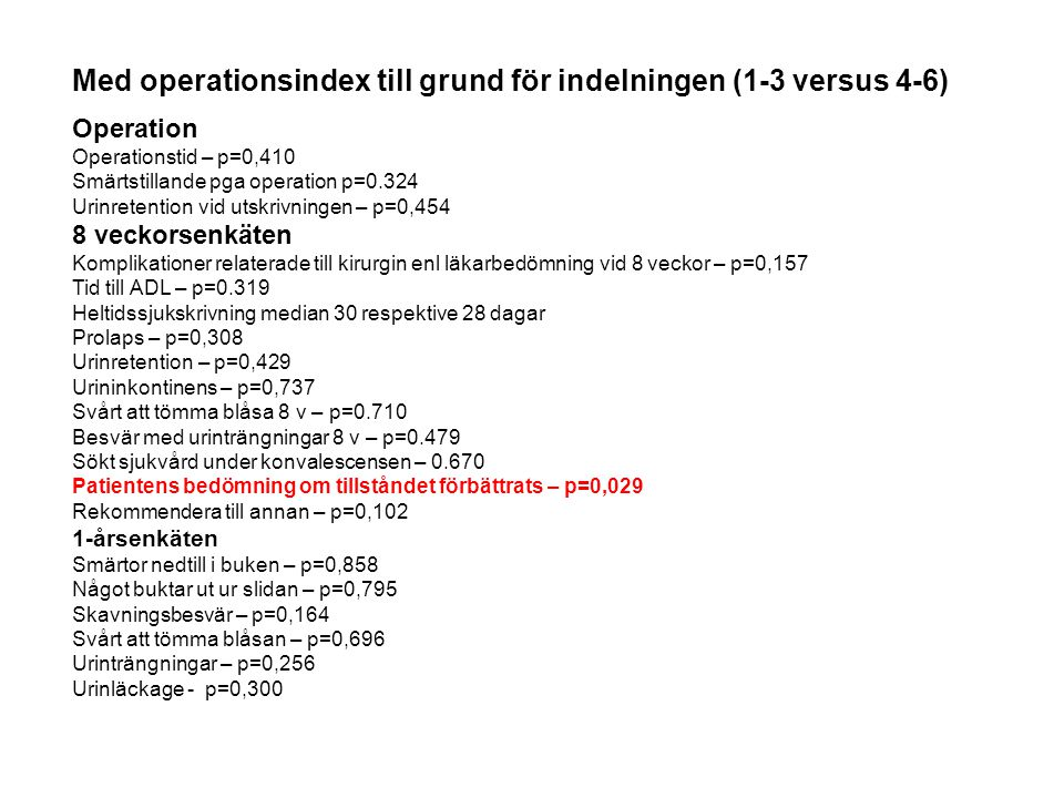 Med operationsindex till grund för indelningen (1-3 versus 4-6) Operation Operationstid – p=0,410 Smärtstillande pga operation p=0.324 Urinretention v