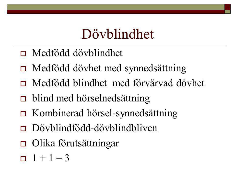 Dövblindhet  Medfödd dövblindhet  Medfödd dövhet med synnedsättning  Medfödd blindhet med förvärvad dövhet  blind med hörselnedsättning  Kombiner