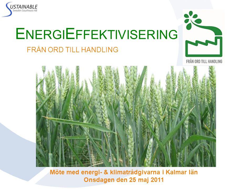 E NERGI E FFEKTIVISERING FRÅN ORD TILL HANDLING Möte med energi- & klimatrådgivarna i Kalmar län Onsdagen den 25 maj 2011