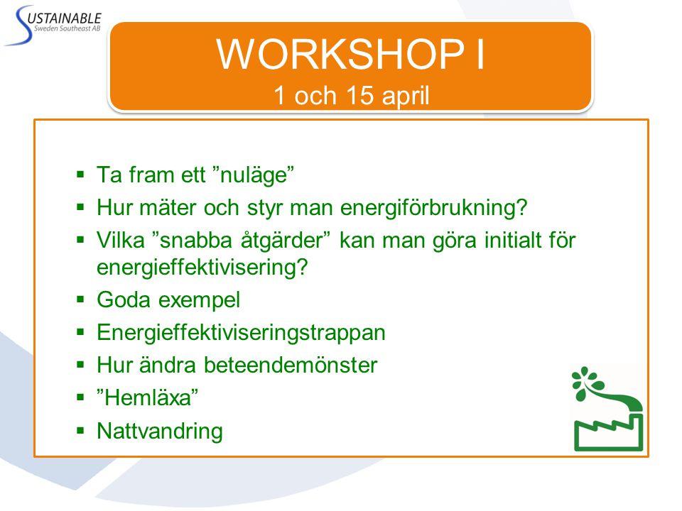 WORKSHOP I 1 och 15 april  Ta fram ett nuläge  Hur mäter och styr man energiförbrukning.
