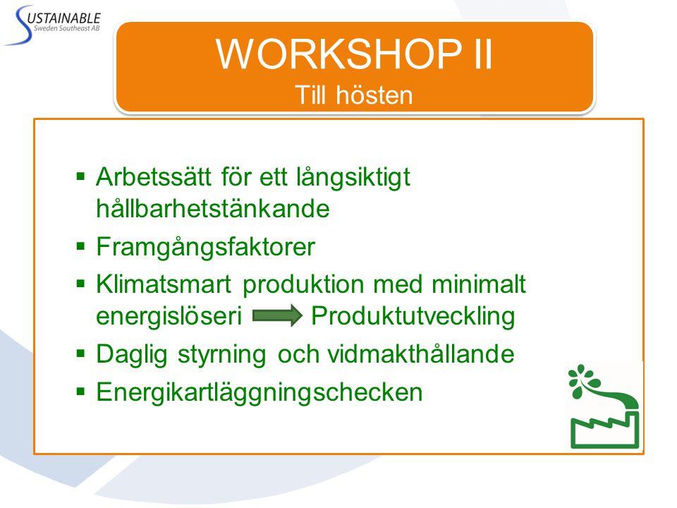 WORKSHOP II Till hösten Till hösten  Arbetssätt för ett långsiktigt hållbarhetstänkande  Framgångsfaktorer  Klimatsmart produktion med minimalt energislöseri Produktutveckling  Daglig styrning och vidmakthållande  Energikartläggningschecken