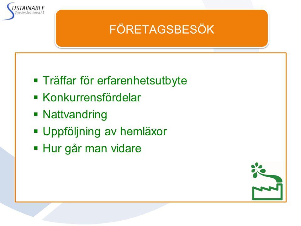 FÖRETAGSBESÖK Emåmejeriet, Hultsfred, 27 maj ITT Water & Wastewater, Emmaboda, 31 maj