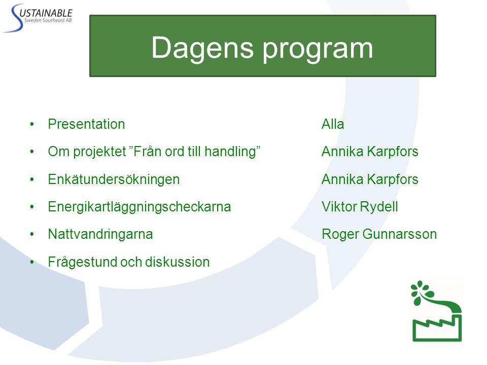 """Dagens program PresentationAlla Om projektet """"Från ord till handling""""Annika Karpfors EnkätundersökningenAnnika Karpfors EnergikartläggningscheckarnaVi"""