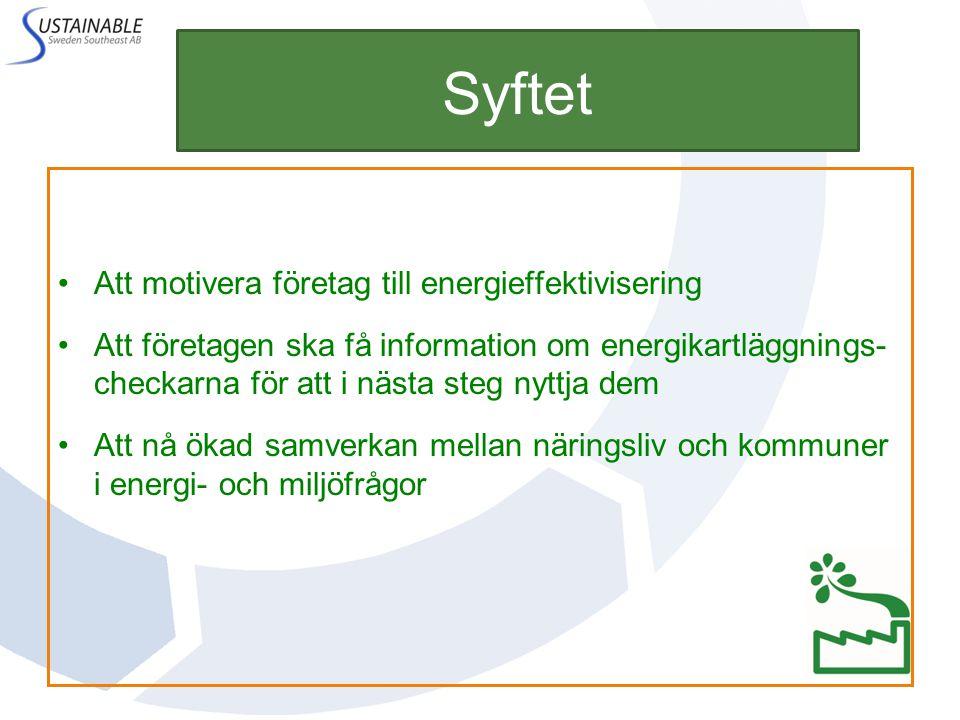 Syftet Att motivera företag till energieffektivisering Att företagen ska få information om energikartläggnings- checkarna för att i nästa steg nyttja dem Att nå ökad samverkan mellan näringsliv och kommuner i energi- och miljöfrågor