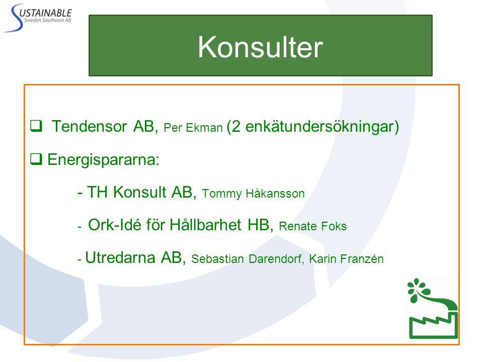 Konsulter  Tendensor AB, Per Ekman (2 enkätundersökningar)  Energispararna: - TH Konsult AB, Tommy Håkansson - Ork-Idé för Hållbarhet HB, Renate Fok