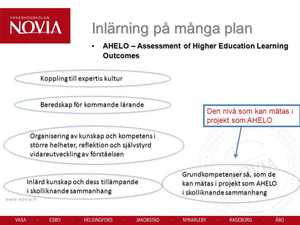 AHELO – Assessment of Higher Education Learning OutcomesAHELO – Assessment of Higher Education Learning Outcomes Inlärning på många plan Den nivå som kan mätas i projekt som AHELO Koppling till expertis kultur Beredskap för kommande lärande Organisering av kunskap och kompetens i större helheter, reflektion och självstyrd vidareutveckling av förståelsen Inlärd kunskap och dess tillämpande i skolliknande sammanhang Grundkompetenser så, som de kan mätas i projekt som AHELO i skolliknande sammanhang