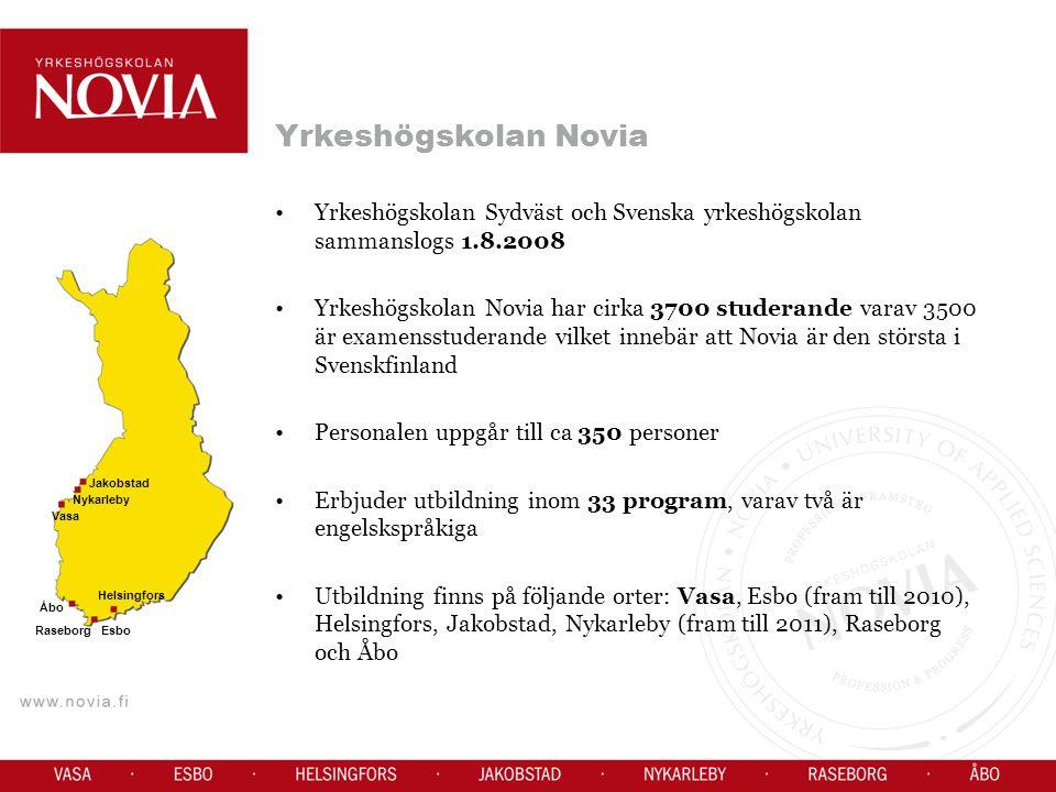 Yrkeshögskolan Novias fem enheter Enheten i Jakobstad/Nykarleby - ca 230 studerande - har verksamhet i Vasa, Jakobstad och Nykarleby (fram till år 2010) Enheten i Vasa, Seriegatan - ca 650 studerande Enheten i Vasa, Wolffskavägen -ca 825 studerande Enheten i Åbo -ca 960 studerande -har verksamhet på Nunnegatan, Malmgatan och i Helsingfors Enheten i Raseborg - ca 810 studerande - har verksamhet i Raseborg och i Esbo (fram till år 2011)