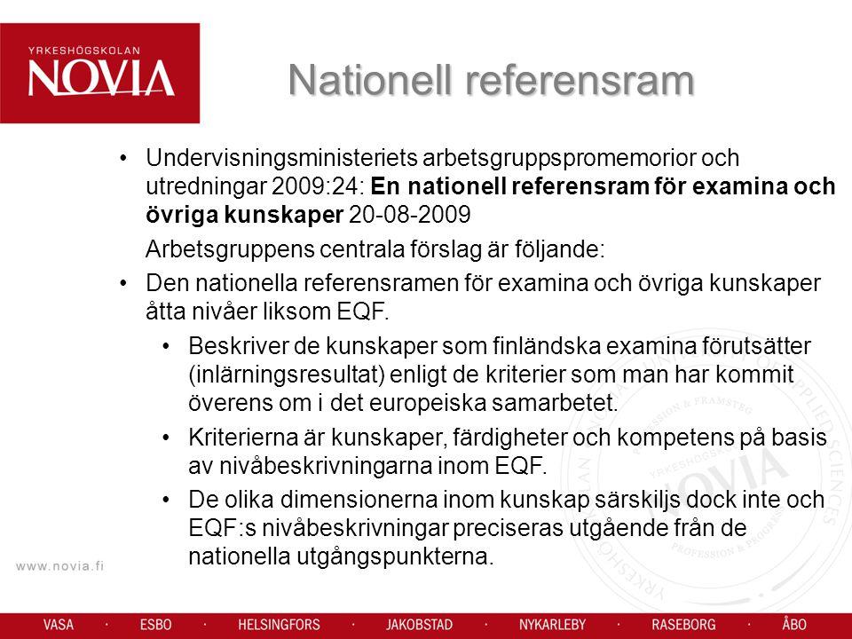Undervisningsministeriets arbetsgruppspromemorior och utredningar 2009:24: En nationell referensram för examina och övriga kunskaper 20-08-2009 Arbetsgruppens centrala förslag är följande: Den nationella referensramen för examina och övriga kunskaper åtta nivåer liksom EQF.