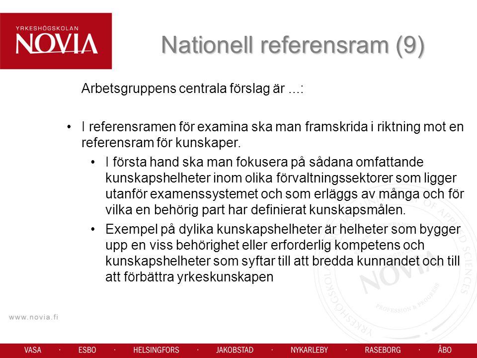 Arbetsgruppens centrala förslag är...: I referensramen för examina ska man framskrida i riktning mot en referensram för kunskaper.
