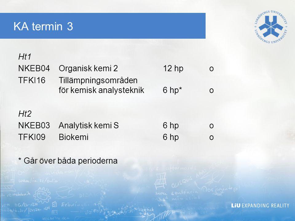 KA termin 5 Ht1 NKEC16Organisk analytisk kemi12 hpo TDDB18Programmering i Ada, grk6 hpv TSIU61Reglerteknik6 hpv Ht2 TFKI19Projekt i kemisk analysteknik6 hpo NKEB02Fysikalisk kemi, termodynamik6 hpv NKEC22Naturproduktkemi och läkemedel6 hpv NVFA09Farmakologi6 hpv TAMS11Sannolikhetslära och statistik, grundkurs6 hpv TGTU49Teknikhistoria6 hpv TKMJ24Miljöteknik 6 hpv TEXJOBkurskod för auskultation
