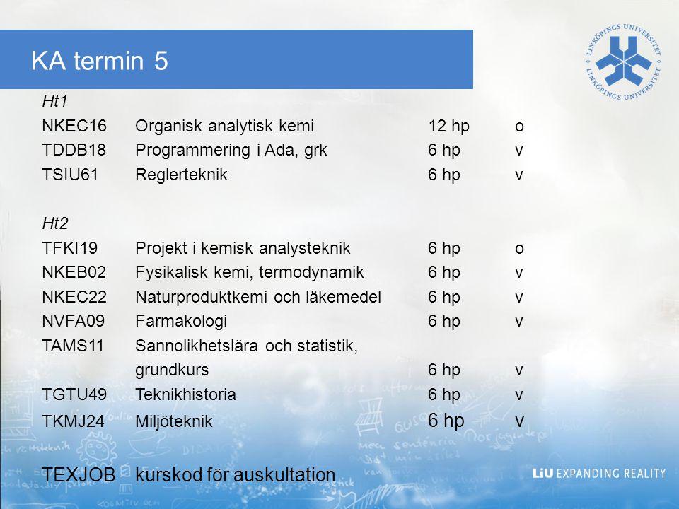 KA termin 5 Ht1 NKEC16Organisk analytisk kemi12 hpo TDDB18Programmering i Ada, grk6 hpv TSIU61Reglerteknik6 hpv Ht2 TFKI19Projekt i kemisk analystekni
