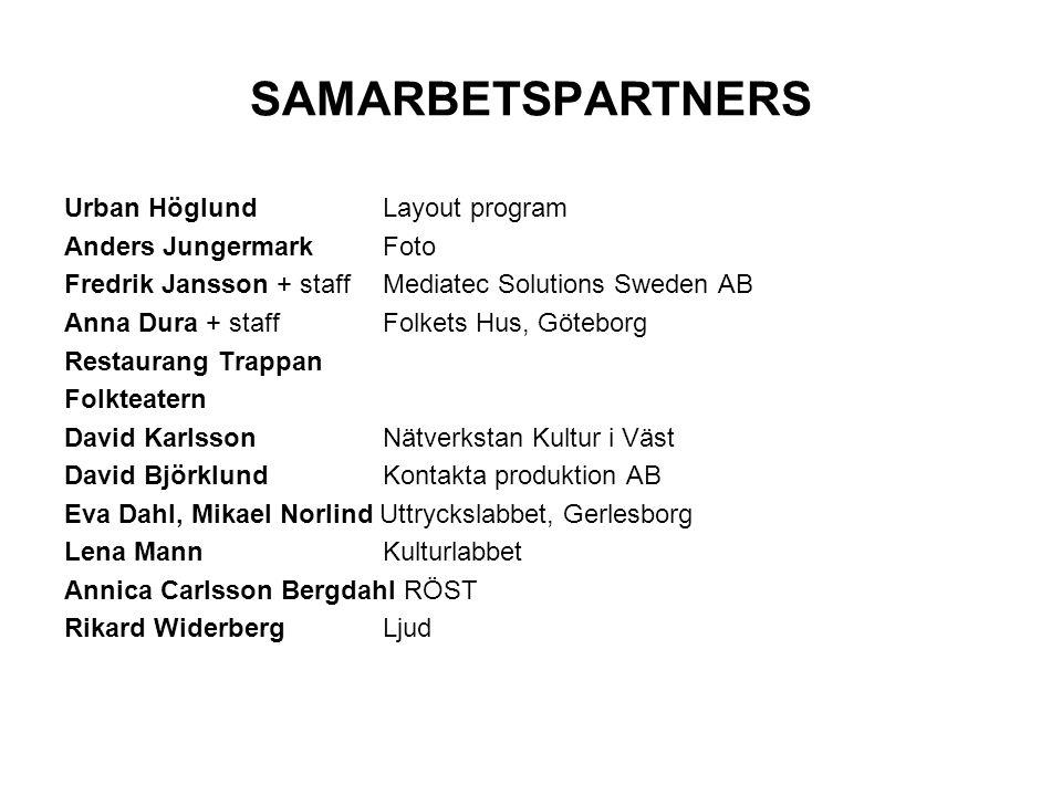 SAMARBETSPARTNERS Urban Höglund Layout program Anders Jungermark Foto Fredrik Jansson + staff Mediatec Solutions Sweden AB Anna Dura + staffFolkets Hu