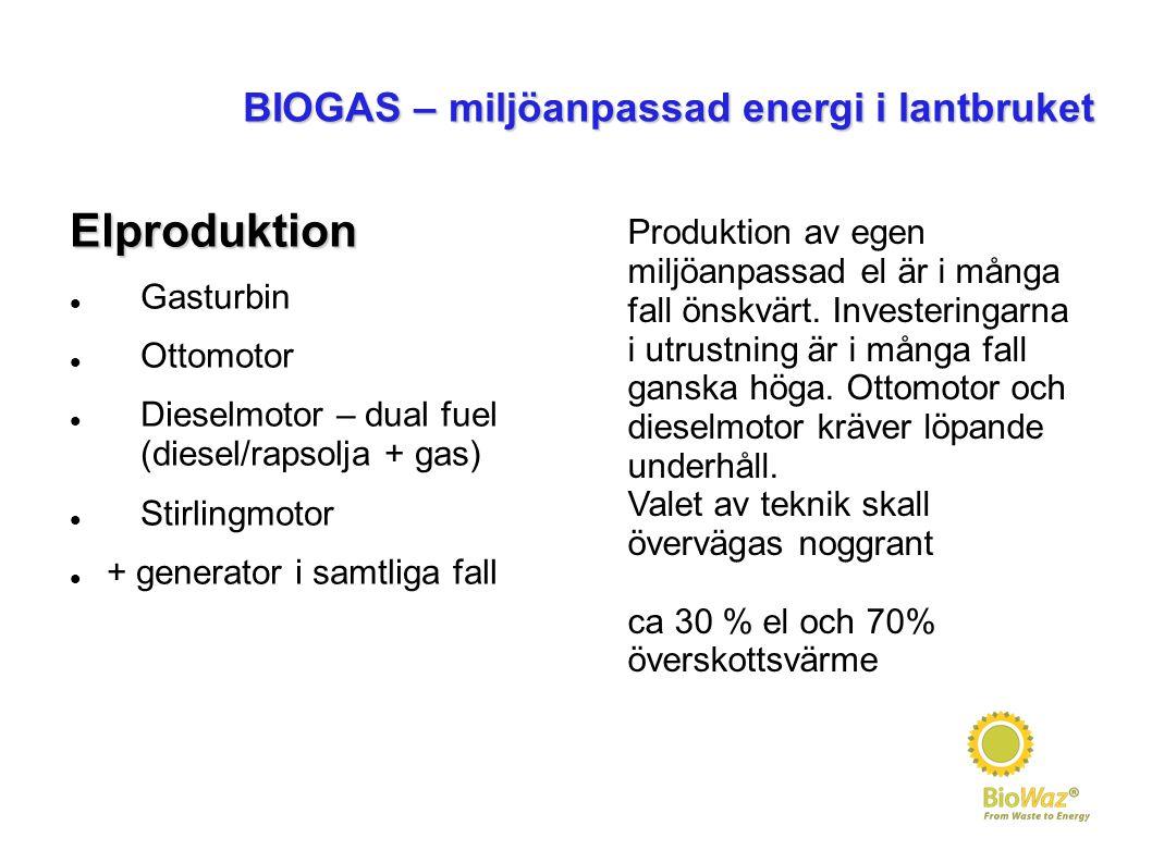 BIOGAS – miljöanpassad energi i lantbruket Elproduktion Gasturbin Ottomotor Dieselmotor – dual fuel (diesel/rapsolja + gas) Stirlingmotor + generator