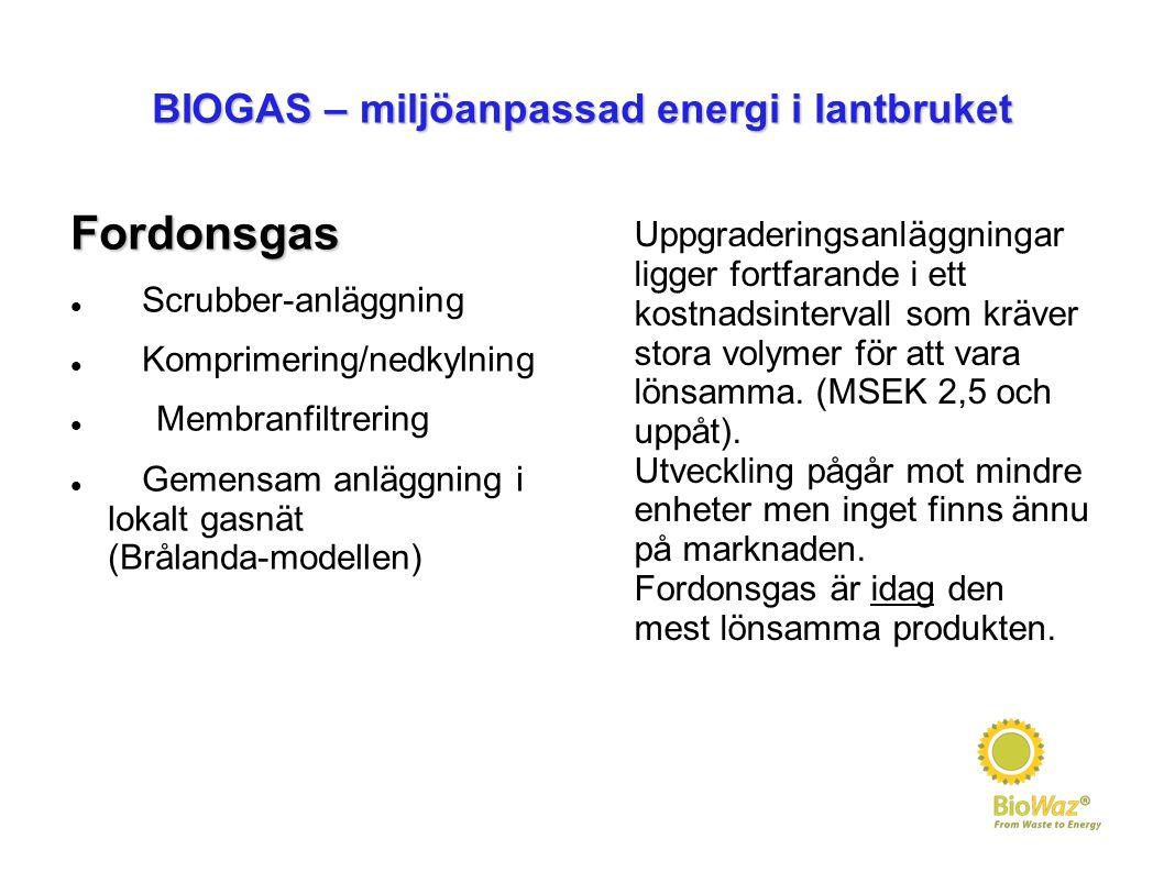 BIOGAS – miljöanpassad energi i lantbruket Fordonsgas Scrubber-anläggning Komprimering/nedkylning Membranfiltrering Gemensam anläggning i lokalt gasnät (Brålanda-modellen) Uppgraderingsanläggningar ligger fortfarande i ett kostnadsintervall som kräver stora volymer för att vara lönsamma.