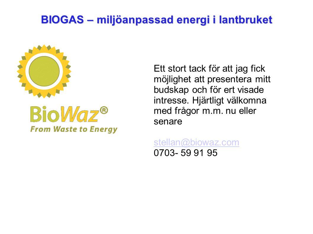 BIOGAS – miljöanpassad energi i lantbruket Ett stort tack för att jag fick möjlighet att presentera mitt budskap och för ert visade intresse.