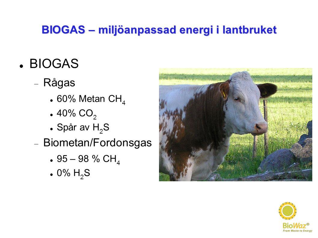 BIOGAS – miljöanpassad energi i lantbruket BIOGAS  Rågas 60% Metan CH 4 40% CO 2 Spår av H 2 S  Biometan/Fordonsgas 95 – 98 % CH 4 0% H 2 S