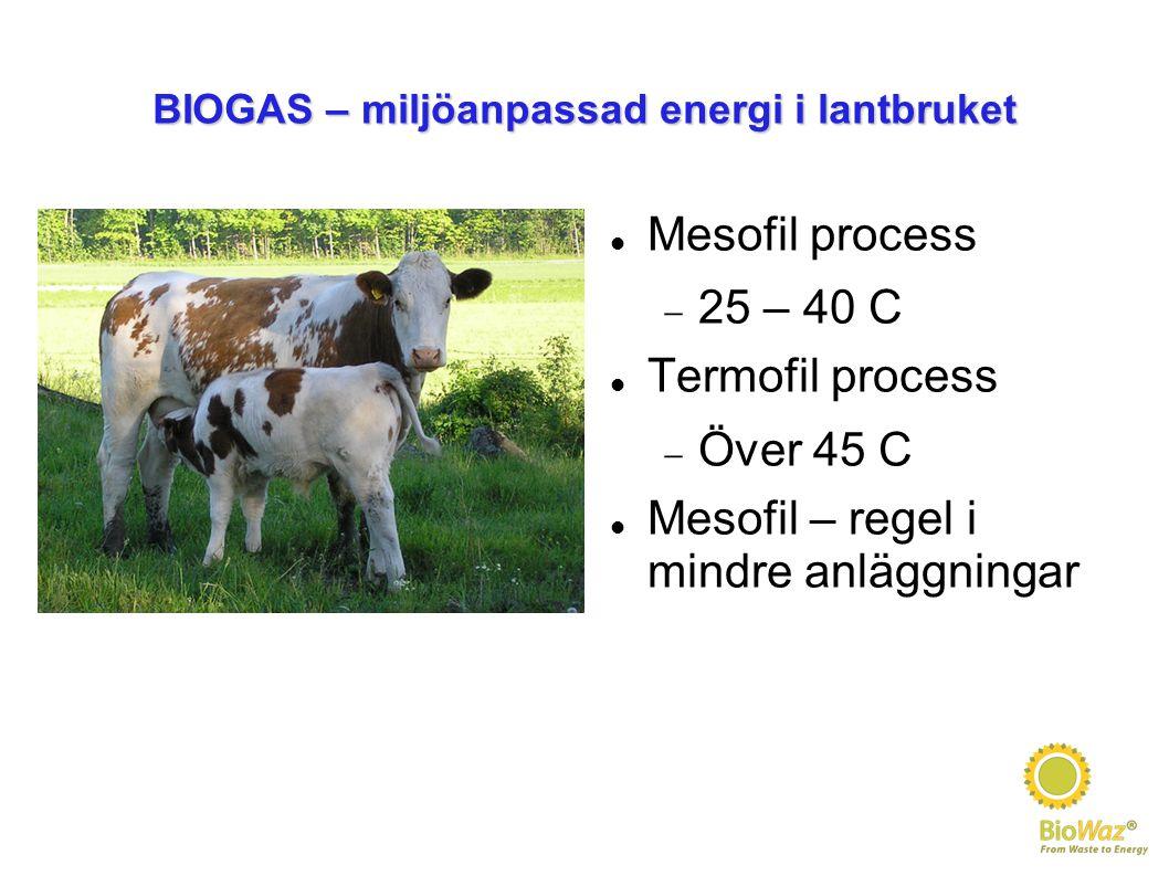 BIOGAS – miljöanpassad energi i lantbruket Mesofil process  25 – 40 C Termofil process  Över 45 C Mesofil – regel i mindre anläggningar
