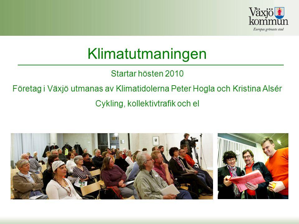 Klimatutmaningen Startar hösten 2010 Företag i Växjö utmanas av Klimatidolerna Peter Hogla och Kristina Alsér Cykling, kollektivtrafik och el