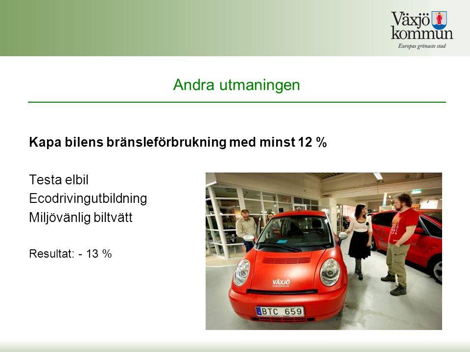 Kapa bilens bränsleförbrukning med minst 12 % Testa elbil Ecodrivingutbildning Miljövänlig biltvätt Resultat: - 13 % Andra utmaningen