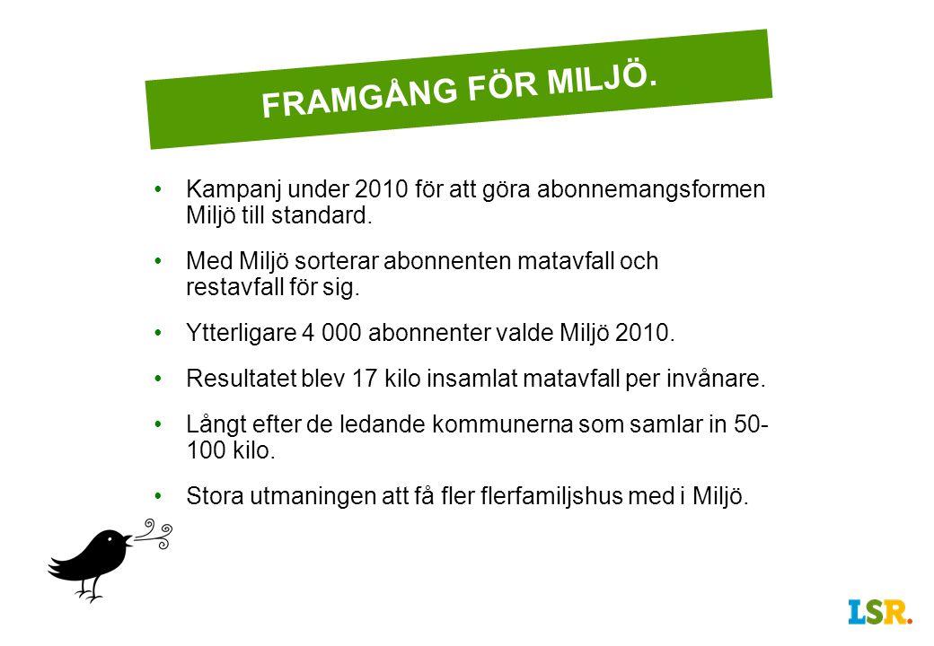 FRAMGÅNG FÖR MILJÖ. Kampanj under 2010 för att göra abonnemangsformen Miljö till standard.