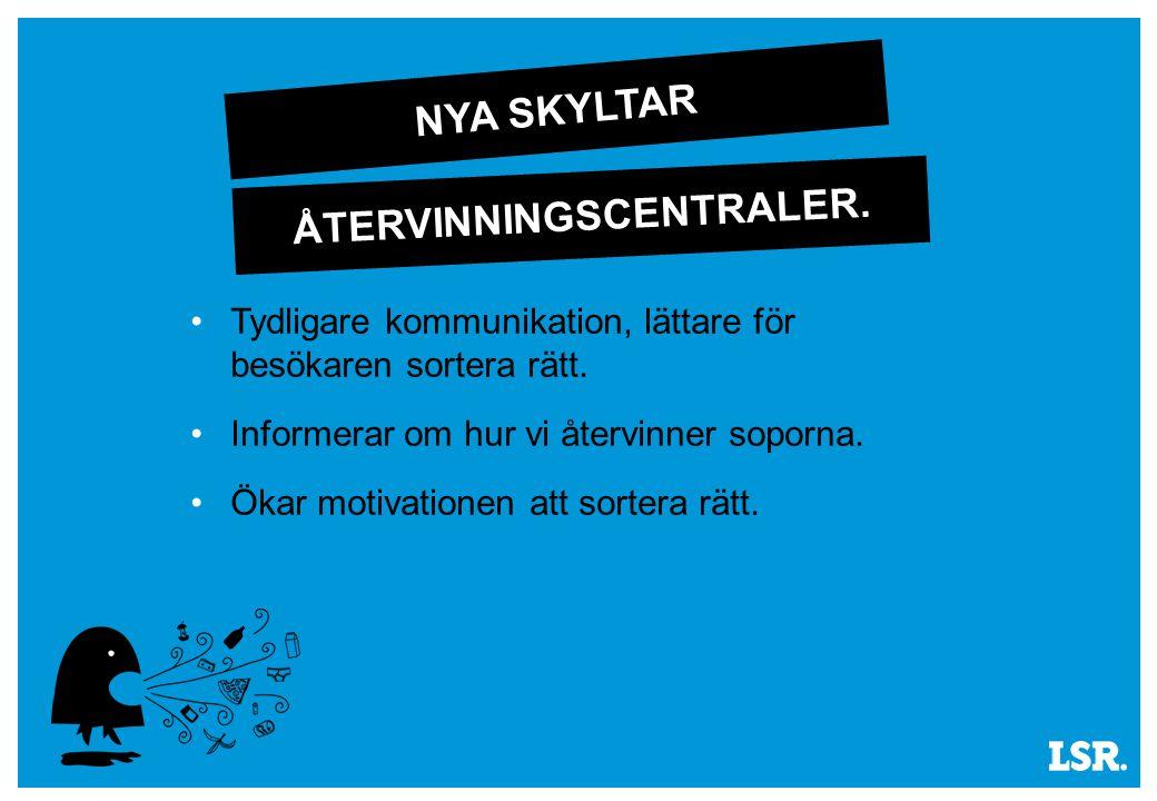 NYA SKYLTAR Tydligare kommunikation, lättare för besökaren sortera rätt.