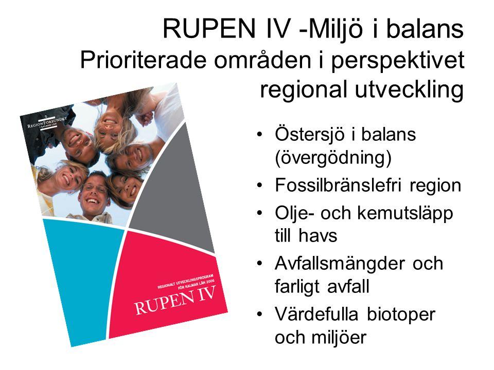 RUPEN IV -Miljö i balans Prioriterade områden i perspektivet regional utveckling Östersjö i balans (övergödning) Fossilbränslefri region Olje- och kemutsläpp till havs Avfallsmängder och farligt avfall Värdefulla biotoper och miljöer