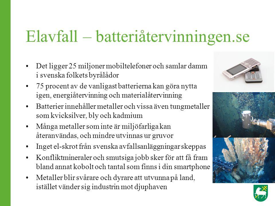 Elavfall – batteriåtervinningen.se Det ligger 25 miljoner mobiltelefoner och samlar damm i svenska folkets byrålådor 75 procent av de vanligast batter
