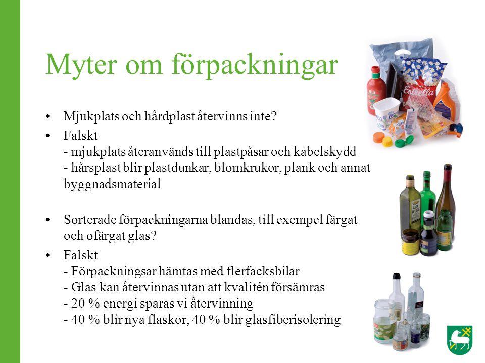 Myter om förpackningar Mjukplats och hårdplast återvinns inte? Falskt - mjukplats återanvänds till plastpåsar och kabelskydd - hårsplast blir plastdun